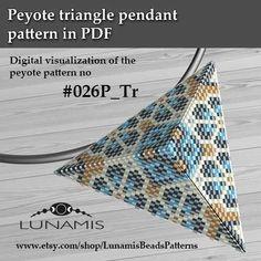 Peyote triangle patterns, pattern for triangle pendant, peyote patterns, beading, peyote stitch, digital file, pdf pattern #026P_Tr
