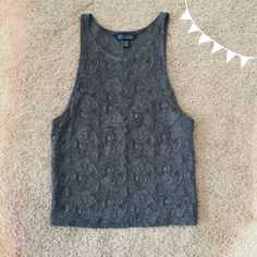 grey lace crop top ✨ given to me as a gift but it doesn't fit me very well. never worn, new with tags. sweet heart neck line and see through lace on the chest and back. slightly cropped. this could fit a small or medium. American Eagle Outfitters Tops Crop Tops