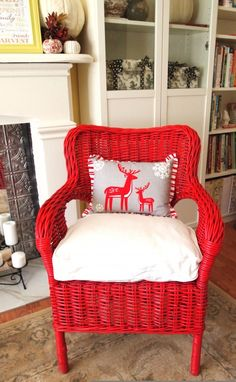 Christmas pillow with painted wicker chair