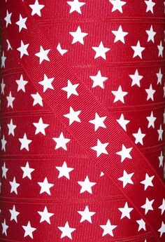 """5 yds 7/8"""" Patriotic 4th of July Red White Star Grosgrain Ribbon"""