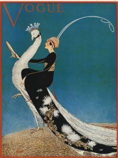 Art Deco Art Print from Vogue of Woman and White Peacock--Featured in 10 Etsy Treasuries. $12.00, via Etsy.