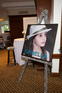 Bat Mitzvah Sign-in Board - Zebra Print with Photo {5th Avenue Digital} - mazelmoments.com