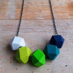 Green with Envy Geo Pop Necklace by Kylie Tack / fruitloopjewellery. Handmade polymer clay geo beads