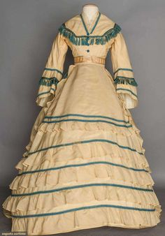b1f364067b8 This is simply listed as a cream wool visiting dress. via Augusta Auctions