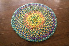 Tutorial for t-shirts -> carpet  Made by braiding the shirts, so no crocheting or knitting skills required.