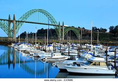 Boats moored in Port of Newport Marina and Yaquina Bay Bridge, Newport, Oregon USA - Stock Image