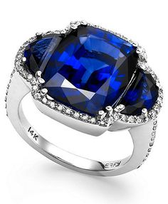 Velvet Bleu by EFFY Manufactured Diffused Sapphire (11-1/5 ct. t.w.) and Diamond (3/8 ct. t.w.) Ring in 14K White Gold