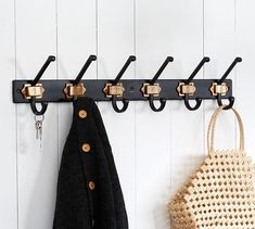 Black & Brass Numbered Row of Hooks $119