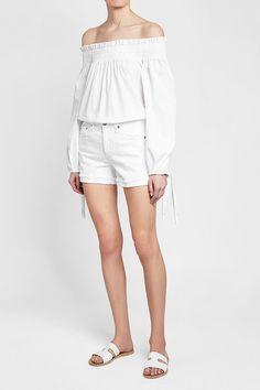AG JEANS - Hailey Denim Shorts   STYLEBOP Ag Jeans, Denim Shorts, White Style, White Shorts, Spring Summer, Shopping, Women, Fashion, Clothing