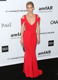 Kate Hudson Wows In A Red Dress With Plunging Neckline At amfAR Gala - Starpulse.com