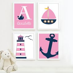 Nautical baby nursery, navy nursery, nautical wall art, girl nursery, n Nautical Baby Nursery, Navy Nursery, Nautical Wall Art, Nautical Bedroom, Nursery Themes, Nursery Prints, Nursery Art, Girl Nursery, Nursery Ideas