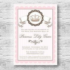 Pink Princess Invitation for Birthday Party or Baby Shower - Girls Vintage Crown Tiara DIY Printable Invite by BeeAndDaisy on Etsy, $12.00
