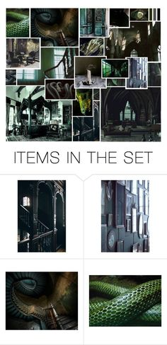 """""""Slytherin Dungeon"""" by thehelsinghatter ❤ liked on Polyvore featuring art, slytherin and PottermoreInPolyvoreMagicChallenge"""