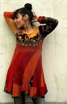 Embroidered kashmir sweaters recycled dress tunic by jamfashion