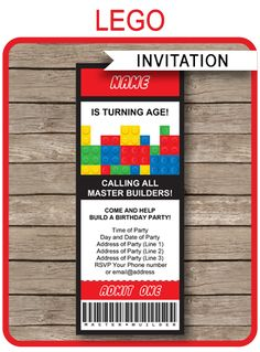 INSTANT DOWNLOADS of Lego Ticket Invitations. Personalize the printable template easily at home and get your Lego birthday party started right now!