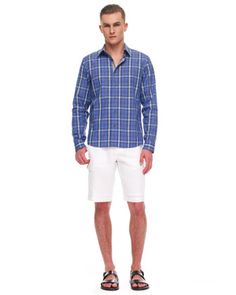 Michael Kors Donovan Check Shirt & Linen Cargo Shorts.