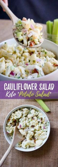 This Cauliflower Salad recipe is the perfect summer time BBQ side dish packed with flavor and crunch in every bite!
