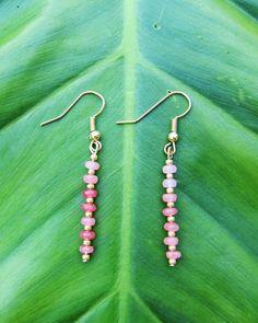 Pink rhodonite gemstone and gold bead earrings