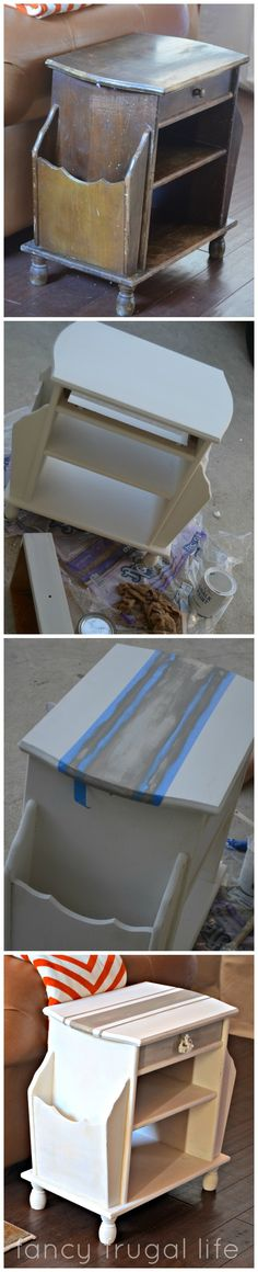 Side Table Makeover with a grain sack stripe in Annie Sloan Paiint
