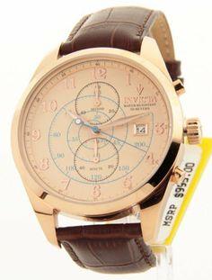Invicta 12391 Men's Vintage Quartz Chronograph Rose Tone Leather Strap Watch Invicta. $99.95. Genuine Leather Strap. Flame Fusion Crystal. Japanese Quartz Movement. Rose Gold Plating