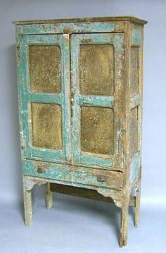 Painted pie safe, 19th c., with punched tin panel : Lot 2301