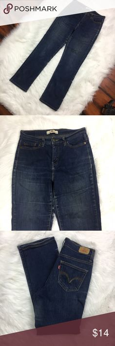 LEVIS Womens Perfectly Slimming 512 Straight Leg LEVIS Womens Perfectly Slimming 512 Straight Leg Dark Denim Jean Sz 8 C3 Petite •	Waist 15 Inches 	•	Inseam 29 Inches 	•	98% Cotton 	•	2% Elastine Levi's Jeans Straight Leg