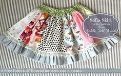 Patchwork Skirt. FREE Pattern in sizes 12m-10 yrs by Violette Field Threads.: