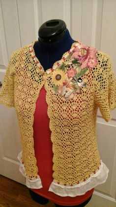 Hand Dyed Upcycled Crocheted Top
