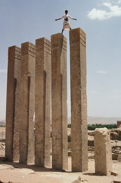 Queen Of Sheba's Secrets In Yemen. 3,000-year-old temple Mahram Bilqis or Temple of the Moon God