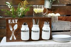 Mason Jar Silverware Holder from Design Dining and Diapers