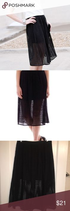 MNG suit collection eyelet skirt black / size 6 Cute eyelet cutout / mini / midi skirt. Adorable for work or a party. Great condition, no flaws 100% cotton. Zips in the back. Be sure to check out the rest of my closet for other stylish items at the best prices. Plus take an additional 15% off bundles of two or more! 7.10.10.22.85.1 MNG Skirts Midi