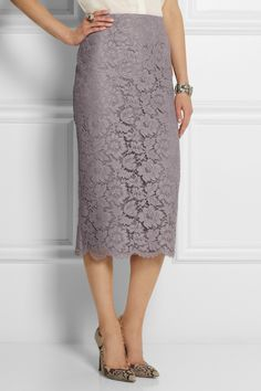 Valentino|Lace and silk-organza midi skirt|NET-A-PORTER.COM