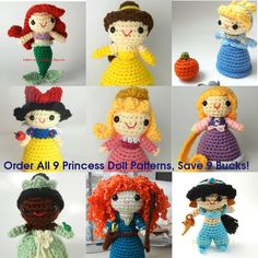 Order All 9 Princess Doll Crochet Patterns Save 9 by JanaGeek, $17.90