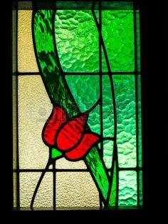 Stained flores rojas con hojas verdes, luz caliente a través. Foto de archivo