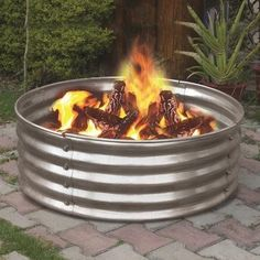 Portable Galvanized Metal Round Fire Pit Ring Can Backyard Camping Firepit for sale online Backyard Camping, Fire Pit Backyard, Backyard Cookout, Desert Backyard, Modern Backyard, Large Backyard, Rv Camping, Campsite, Outdoor Fire