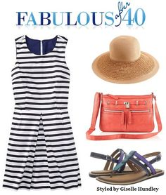 Nautical striped sundress works for a backyard barbecue or a day at an amusement park.
