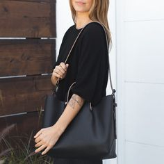 Boat Tote in Black Leather