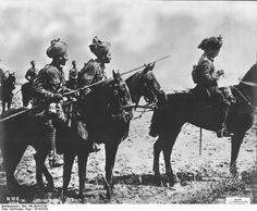 WW1: Indian cavalrymen, belonging to the British Expeditionary Force (BEF), on the Western Front in 1914. The British, and to a lesser extent the French, brought substantial numbers of colonial troops to the European war.