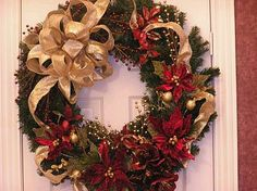 Decoration Ideas, Fantastic Gold Ribbon With Chic Pine Leaf Arragement As Christmas Wreath Interior Design Decoration In Cool White Front Door: 28 Creative Ideas For Decoration Christmas Wreaths Spode Christmas Tree, Elegant Christmas, Gold Christmas, Beautiful Christmas, Christmas Time, Christmas Ornaments, Christmas Wreaths For Front Door, Christmas Door Decorations, Holiday Wreaths