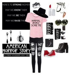 """normal people scare me"" by alison-wunderland on Polyvore featuring Charlotte Russe, Glamorous, Zimmermann, Coven, Bling Jewelry, Converse, HoneyBee Gardens, Alison and americanhorrorstory"