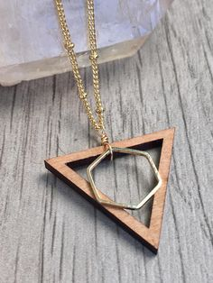 Triangle Necklace Long Gold Layering Necklace Wood Necklace #jewelry #handmade #geometric #etsy