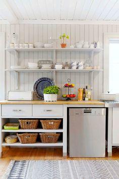Rural kitchen with open shelves. Kitchen Cart, Kitchen Cabinets, Scandinavian Cottage, Cellar Design, Beautiful Kitchens, Open Shelving, Interior Design Kitchen, Cottage Style, Decorating Tips