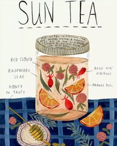 Herbal Magic, Kitchen Witch, Tea Blends, Tea Recipes, Cocktail Recipes, Drink Recipes, Food Illustrations, Illustration Artists, Book Of Shadows