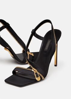 Versace Safety Pin Leather Sandals for Women | US Online Store Dream Shoes, New Shoes, Cute Shoes, Me Too Shoes, Versace Shoes, Designer Heels, Luxury Shoes, Beautiful Shoes, Shoe Collection