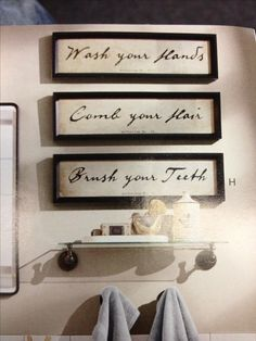Bathroom decor words in frames
