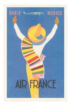 Ari France - Paris, Mexico #vintage #travel #poster