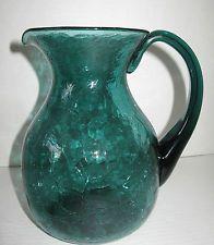 """Vintage Large Teal Crackle Glass Beverage Pitcher Pontil Pilgrim? 8""""  H  X  7"""" W Water Pitchers, Crackle Glass, Pilgrim, Beverage, Teal, Green, Beautiful, Vintage, Drink"""