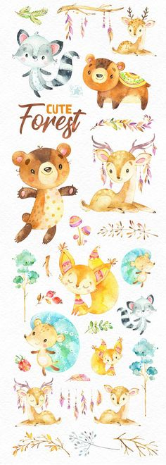 This cute Forest animals set includes bear, hedgehog, deers, fox, raccoon, floral and more. It is just what you needed for the perfect invitations, craft projects, paper products, party decorations, printable, greetings cards, posters, stationery, scrapbooking, stickers, t-shirts, baby