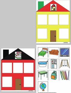 Classify the objects into the correct building: home or school Speech Language Therapy, Speech And Language, English Lessons, Learn English, Educational Activities, Preschool Activities, Folder Games, Therapy Activities, Pre School
