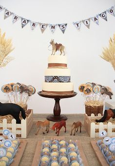 Horse party for Logan's Birthday … Horse Theme Birthday Party, Cowboy Theme Party, Rodeo Birthday, Horse Party, 10th Birthday Parties, Farm Birthday, Happy Birthday, Kids Party Themes, Party Ideas